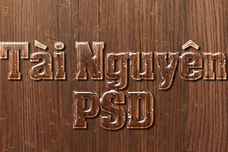 Chia sẻ psd hiệu ứng chữ nước trên gỗ