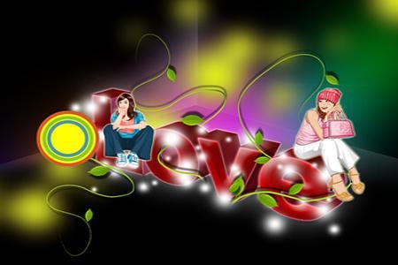 Chia sẻ file psd thiết kế hiệu ứng chữ love 3d