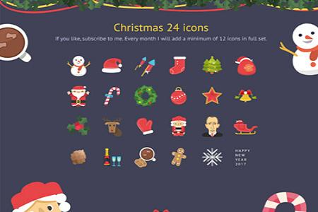 Share file psd 24 icon giáng sinh đẹp